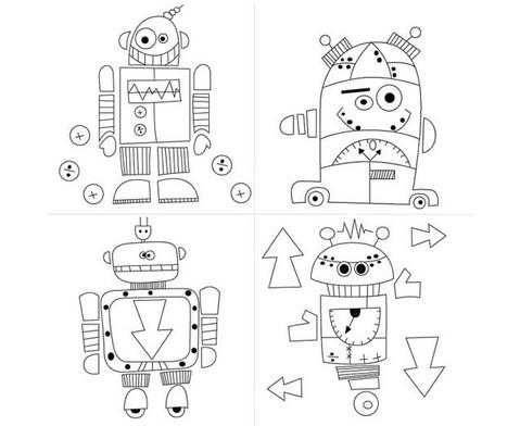 Bedruckte Keilrahmen Roboter 4 Stueck-2