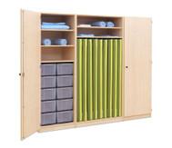 Flexeo Schrank mit 10 großen Boxen, 9 Matrazenfächern und 2 Türen