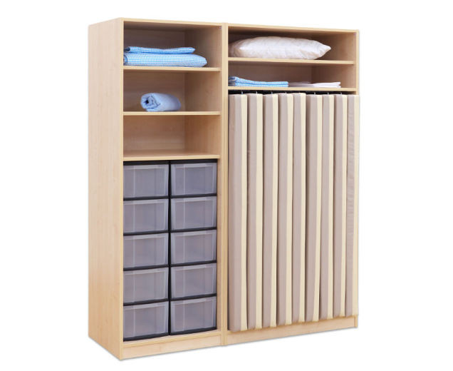 flexeo schrank 10 gro e boxen f r liegepolster 140 cm breite 159 cm. Black Bedroom Furniture Sets. Home Design Ideas