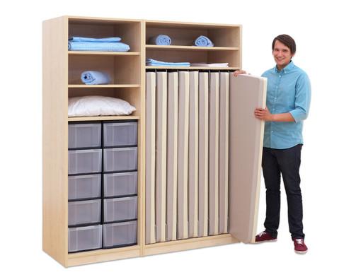 Flexeo Schrank mit 10 grossen Boxen und 9 Matratzenfaechern