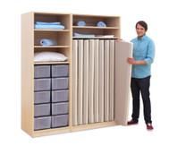 Flexeo Schrank mit 10 großen Boxen und 9 Matrazenfächern