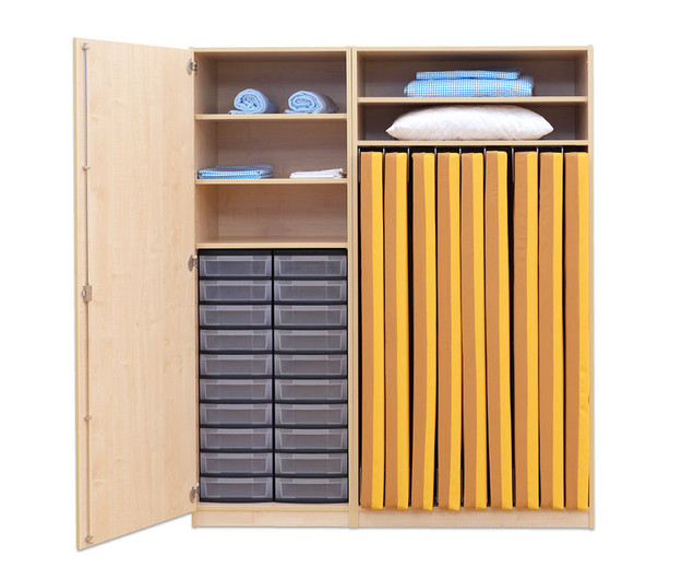 flexeo schrank 20 kleine boxen 1 schrankt r f r liegepolster 160 cm breite 159 cm. Black Bedroom Furniture Sets. Home Design Ideas