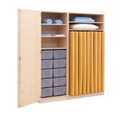 Flexeo Schrank, 10 große Boxen, 2 Schranktüren, für Liegepolster 140 cm, Breite 159 cm