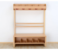 Garderobenbank, Schuhgestell aus Holz für 4 Kinder