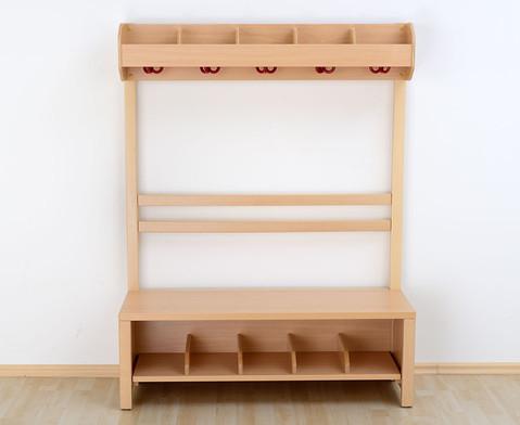 Garderobenbank Schuhgestell aus Holz fuer 5 Kinder