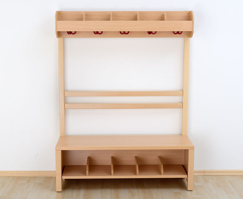 Garderobenbank Schuhgestell aus Holz fuer 7 Kinder