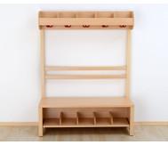 Garderobenbank, Schuhgestellt aus Holz für 7 Kinder