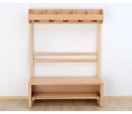 Garderobenbank, Schuhablagerost aus Holz für 4 Kinder