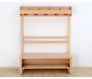 Garderobenbank, Schuhablagerost aus Holz für 6 Kinder