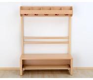 Garderobenbank, Schuhablagerost aus Holz für 7 Kinder