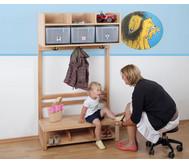 Garderobenschrank für 4 Kinder mit 4 Boxen