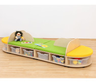 Sitzkombination 4 ohne Boxen: Sitzbank oval, Rückenlehne, Sitzmatten gelb/grün