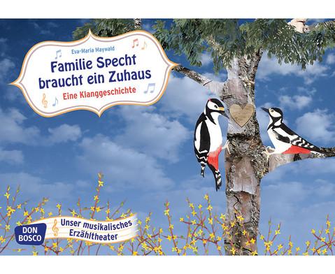 Bildkarten Familie Specht braucht ein Zuhaus
