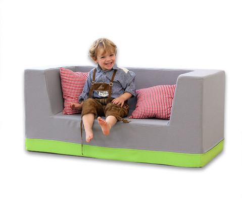 Sofa mit Rueckenlehne und Armstuetzen Webstoff-14