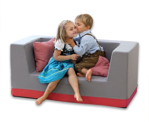 Sofa mit Rueckenlehne und Armstuetzen Webstoff-9