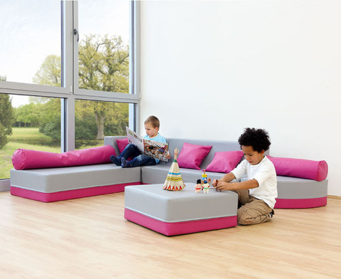 Sofa mit Rueckenlehne Webstoff-13