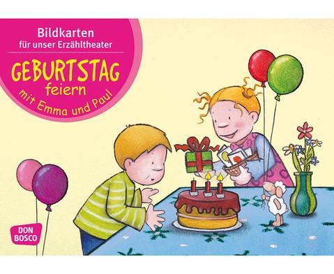 Bildkarten  Geburtstag feiern mit Emma und Paul