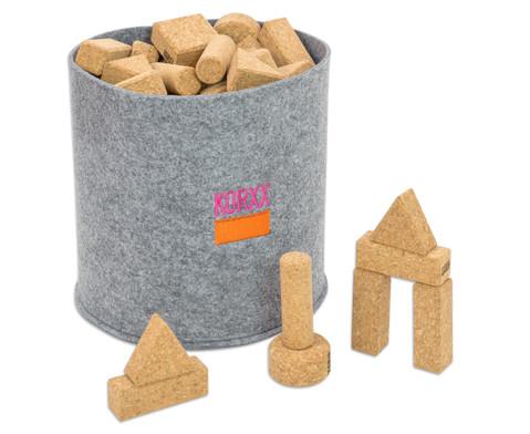 KORXX Natur-Bausteine verschiedene Formen 60 Stueck