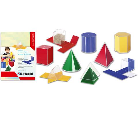 Geometriesatz Koerper und Netze plus Farbfolien und Kopiervorlagen