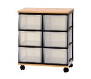 Container-System mit Holz-Ablage, 6 große Schübe