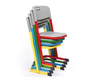Luftpolster-Schülerstuhl mit U-Fuß, Sitzhöhe 38 cm, Stahlfarbe: