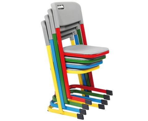Luftpolster-Schuelerstuhl mit U-Fuss Sitzhoehe 46 cm Stahlfarbe