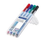 Lumocolor correctable, Etui mit 4 Farben, Strichstärke fein