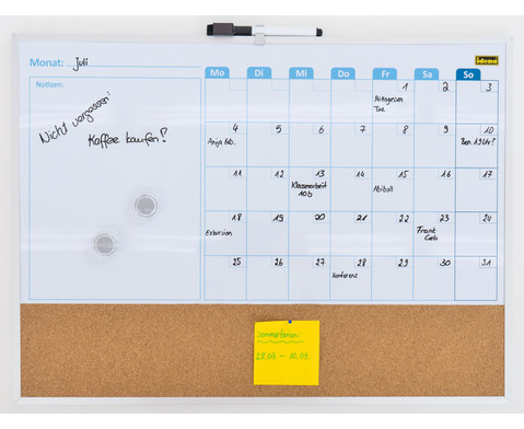 Whiteboard Monatsplaner mit Pinnwand inkl 2 Magneten und 1 Marker-1