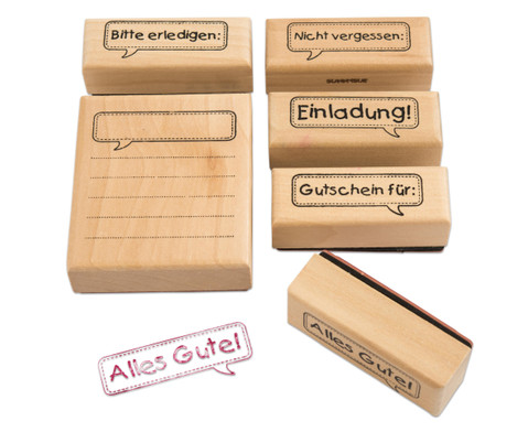 Holzstempel Message 6-teilig-1