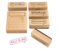 Holzstempel Message, 6-teilig