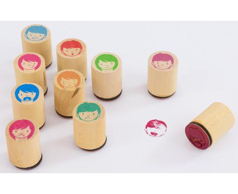 Holzstempel Gesichter 10-teilig-1