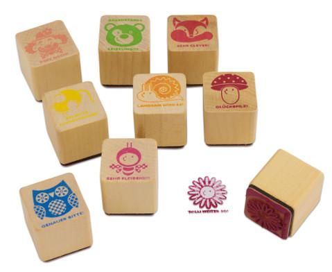 Lehrerstempel aus Holz 9 Stueck