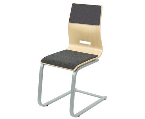Schuelerstuhl mit Buchenholz-Schale Mit Sitz- und Rueckenpolster