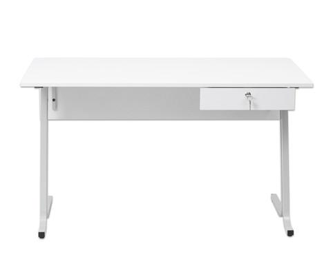 Lehrertisch swing Blende mit abschliessbarer Schublade und PU-Kante