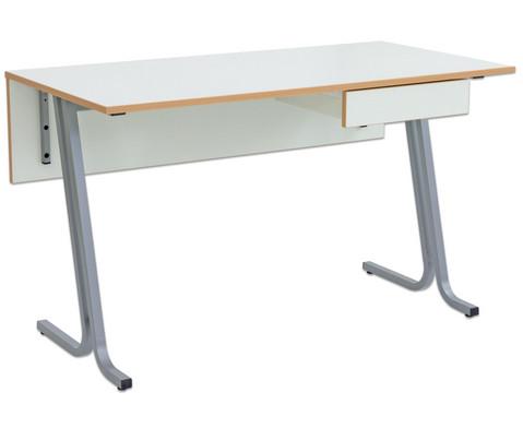 Lehrertisch swing Blende mit abschliessbarem Fach  PU-Kante