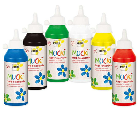 Mucki Stoff-Fingerfarben 6 x 250ml