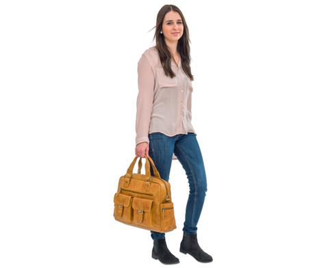 Businesstasche XL aus Bueffelleder mit Schulterriemen-11