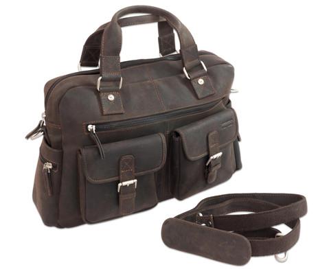 Businesstasche XL aus Bueffelleder mit Schulterriemen-4