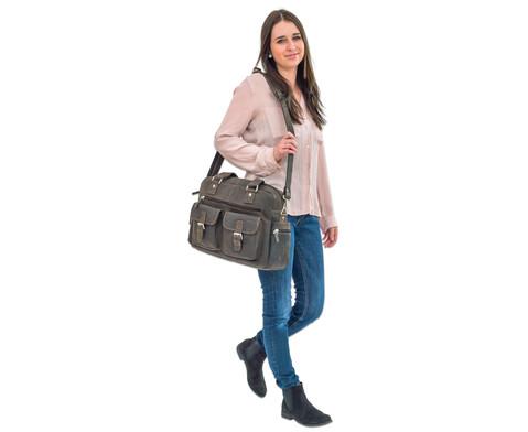 Businesstasche XL aus Bueffelleder mit Schulterriemen-5