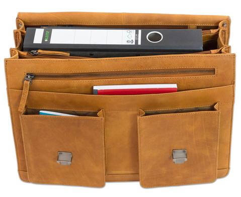 Lehrertasche aus Bueffelleder mit Schulterriemen-3