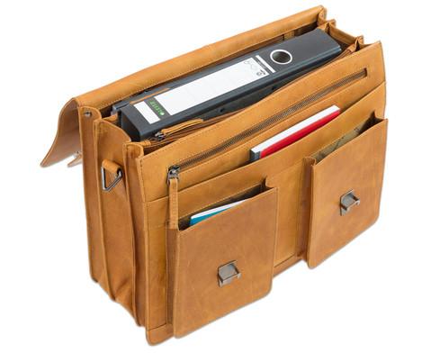 Lehrertasche aus Bueffelleder mit Schulterriemen-4