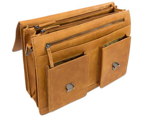 Lehrertasche aus Bueffelleder mit Schulterriemen-5