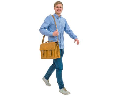 Lehrertasche aus Bueffelleder mit Schulterriemen-7