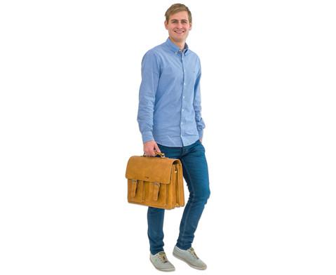 Lehrertasche aus Bueffelleder mit Schulterriemen-8
