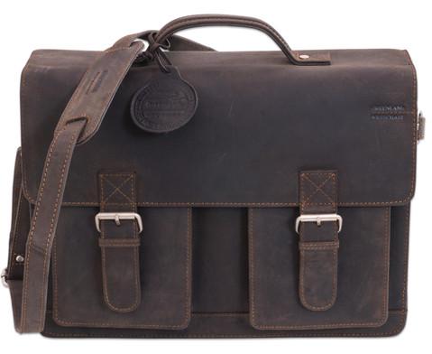 Lehrertasche aus Bueffelleder mit Schulterriemen-9