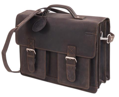 Lehrertasche aus Bueffelleder mit Schulterriemen-11