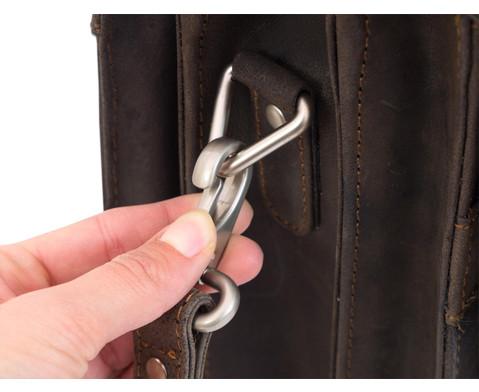 Lehrertasche aus Bueffelleder mit Schulterriemen-12