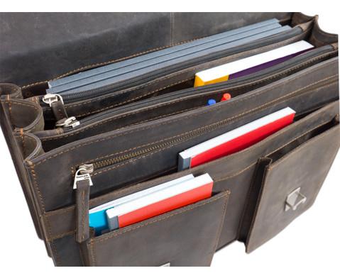 Lehrertasche aus Bueffelleder mit Schulterriemen-14