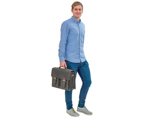 Lehrertasche aus Bueffelleder mit Schulterriemen-17