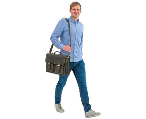 Lehrertasche aus Bueffelleder mit Schulterriemen-18